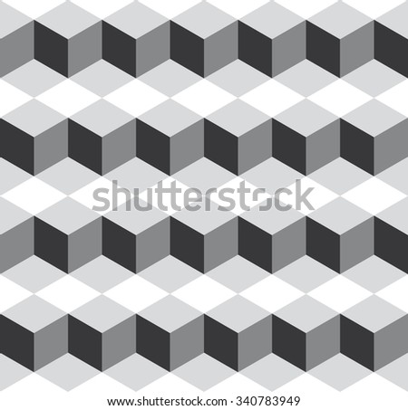 Seamless medium gray isometric cubes levels puzzle illusion pattern vector - stock vector