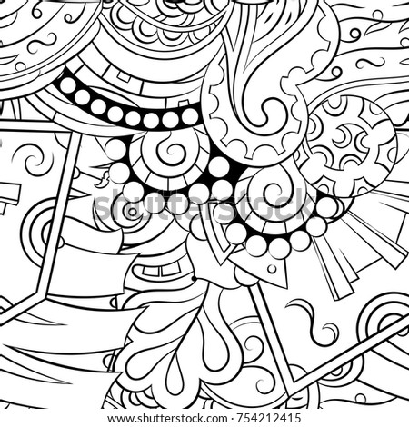 Handdrawn Vector Rooster Black White Doodle Stock Vector
