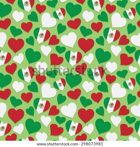 seamless mexican heart pattern with mexican flags and clipping path - stock vector