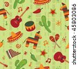 seamless mexican pattern wallpaper with clipping mask - stock photo
