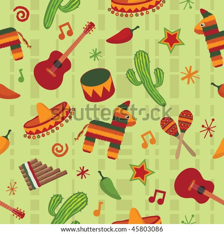 seamless mexican pattern wallpaper with clipping mask - stock vector