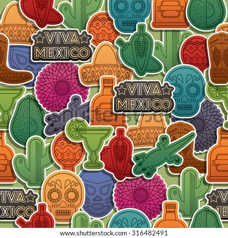 seamless mexican themed pattern decoration with clipping mask and transparencies - stock vector