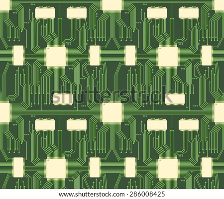Seamless microchip industrial electronic circuit vector pattern. System background, industry technology, chip and network, vector illustration - stock vector