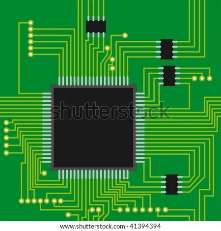 Seamless microcircuit as a background - stock vector