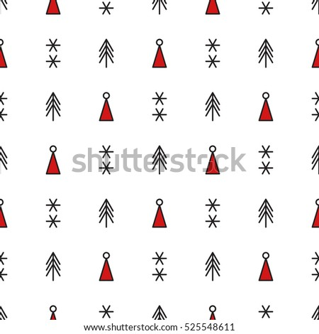 with trees snowflakes and Santa hats Vector endless illustration