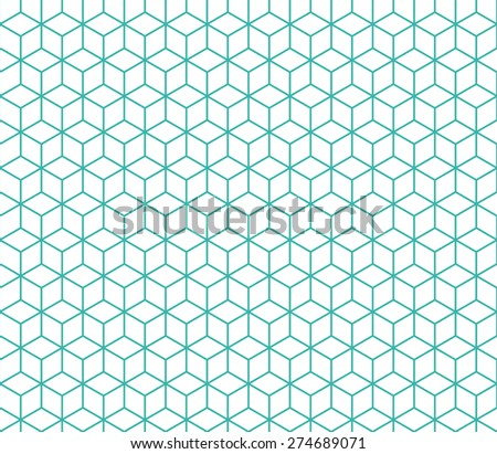 Seamless mint and white isometric cubes pattern vector - stock vector