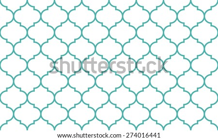 Seamless mint and white wide moroccan pattern vector - stock vector