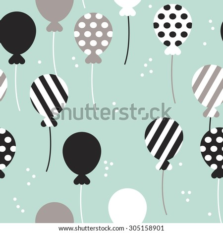 Seamless mint polka dots and chevron stripes birthday party festive balloon scandinavian style illustration background pattern in vector - stock vector