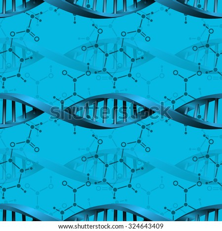 Seamless modern DNA molecule structure background. Science and biotechnology organic design. Can be used for wallpaper, pattern fills, web page background, surface textures. EPS10