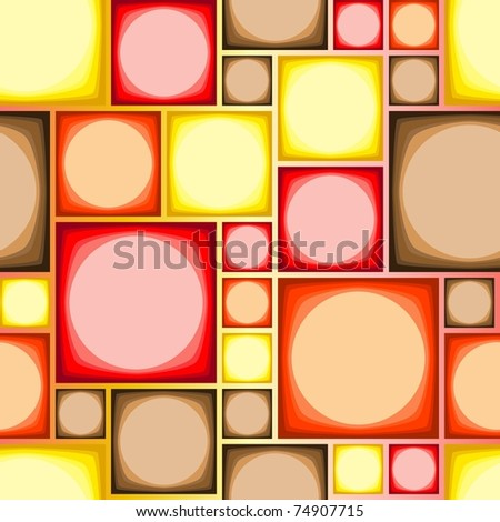 Seamless modern tile pattern in hot colors - stock vector