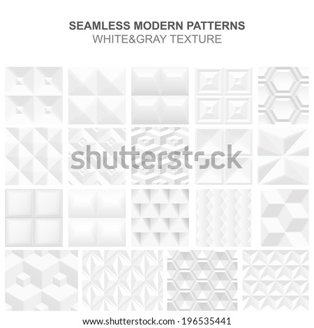 Seamless modern vector patterns. White&Gray simple texture. - stock vector