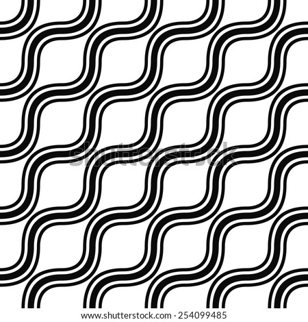 Seamless monochrome angular wave pattern - stock vector