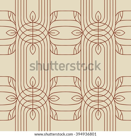 Seamless monochrome background in linear style with floral motifs. - stock vector