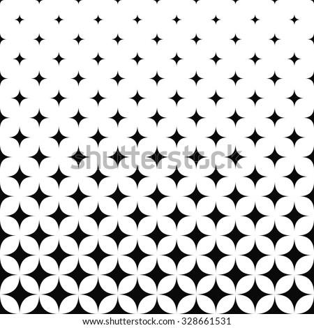 Seamless monochrome curved star pattern - stock vector