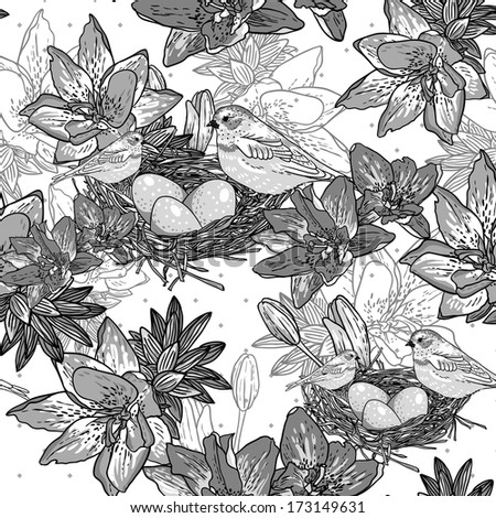 Seamless monochrome floral background with bird  Wallpaper in vintage style  - stock vector