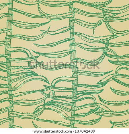 Seamless monochrome hand drawn background with aloe vera plants. Eps10 - stock vector