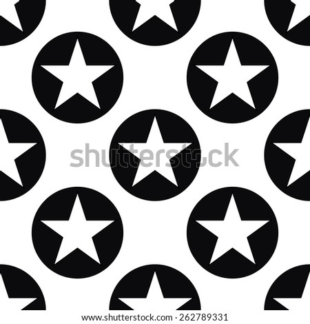 Seamless monochrome pattern. Eps8 endless repeating tile vector illustration swatch fill of white stars in black circles on white background wallpaper wrapping paper texture. Simple geometrical shapes - stock vector