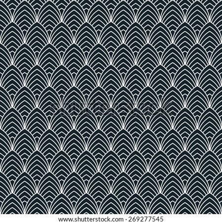seamless monochrome pattern of overlapping arches. - stock vector