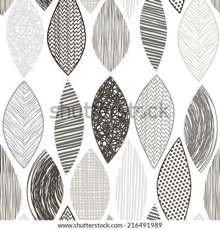 Seamless monochrome pattern with  abstract leaves. - stock vector