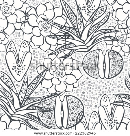 Seamless monochrome pattern with succulents. - stock vector