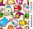 seamless monster pattern - stock vector