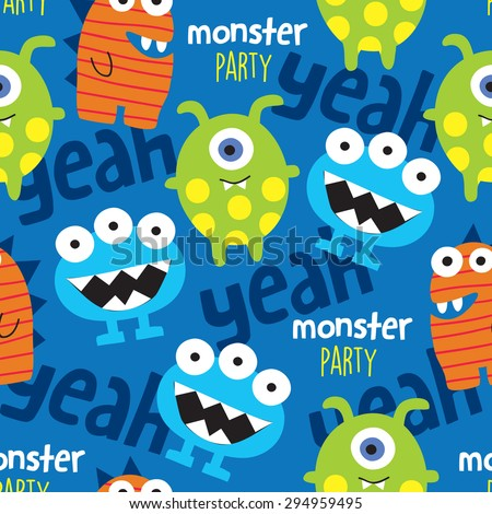 seamless monster pattern vector illustration