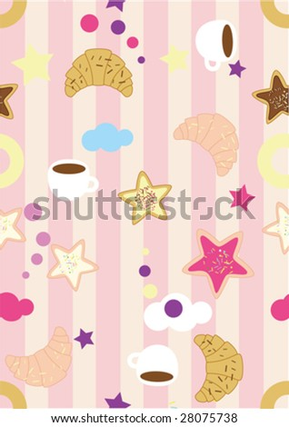 seamless morning croissant coffe striped pink pattern