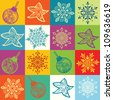 Seamless mosaic christmas pattern - stock vector