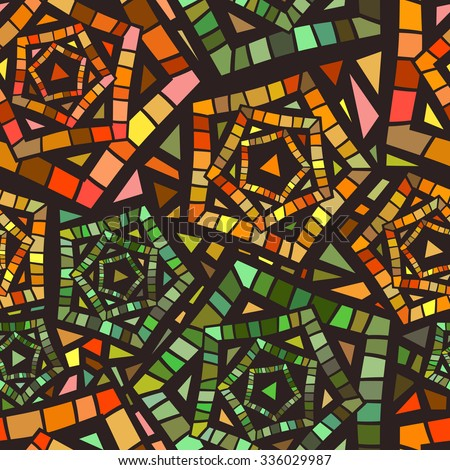 Seamless Mosaic Pattern Textile Design Colorful Stock