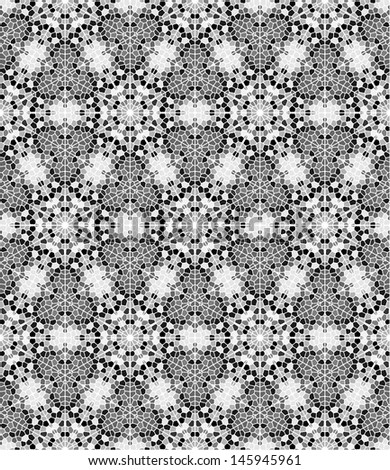 Seamless mosaic pattern in black and white - stock vector