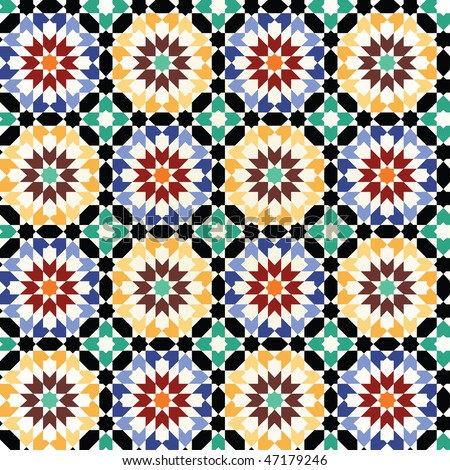 Seamless mosaic tile pattern - stock vector