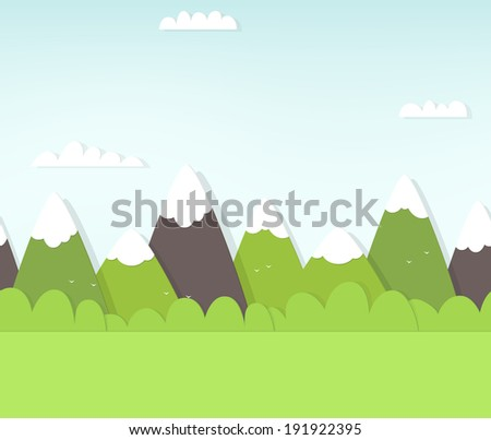 seamless mountain landscape - stock vector