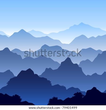 Seamless mountain landscape. Vector. - stock vector