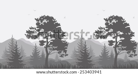 Seamless, mountain landscape with pines, conifer trees, birds and grass, gray silhouettes. Vector - stock vector