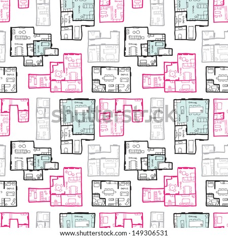 Seamless moving house map architecture illustration decorative background pattern in vector - stock vector