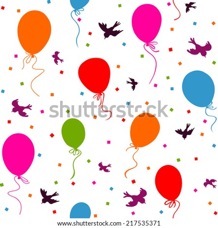 seamless - multicolor balloons flying in the sky with birds and confetti on white background - stock vector