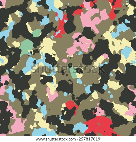 Seamless multicolor fashion woodland camouflage pattern vector - stock vector