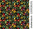Seamless multicolored floral pattern on dark - stock