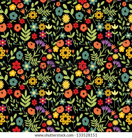 Seamless multicolored floral pattern on dark - stock vector