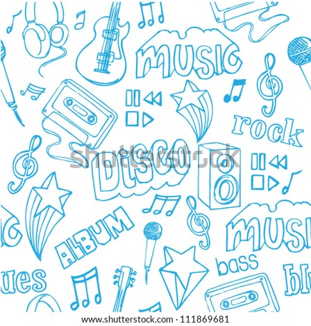 Seamless music doodles background - stock vector