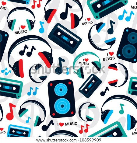 Seamless music headphone speakerbox sound pattern background in vector - stock vector