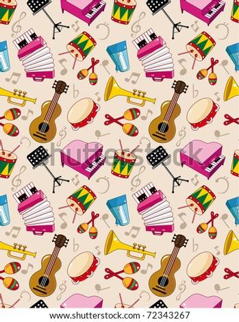 seamless music pattern - stock vector