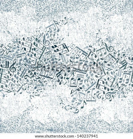 Seamless music pattern with grunge texture, vector background, horizontal composition. - stock vector