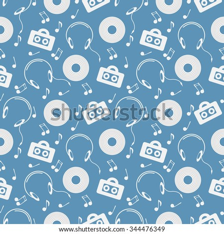 Seamless music vector pattern, chaotic background with music player, headphones, notes, record, over blue backdrop - stock vector