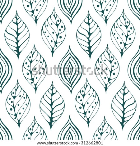 Seamless natural pattern. Graphic ornament. Floral stylish background with leaves, Vector - stock vector
