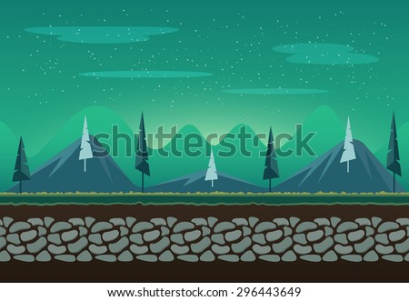 Seamless nature landscape with mountains for game background. It can be repeated or tiled without any visible seams - stock vector