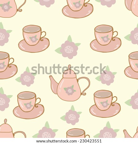 Seamless nature pattern teapot and cup shabby chic design - stock vector
