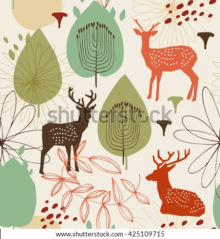 Seamless nature pattern with deers. Forest background. Vector texture - stock vector
