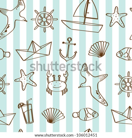 Seamless nautical background - stock vector