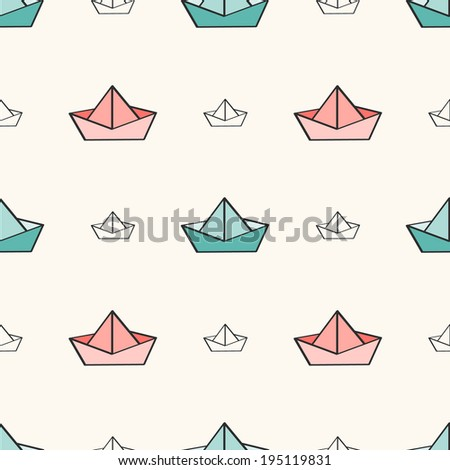 Seamless nautical pattern with paper boats. Can be used for wallpaper, pattern fills, surface textures